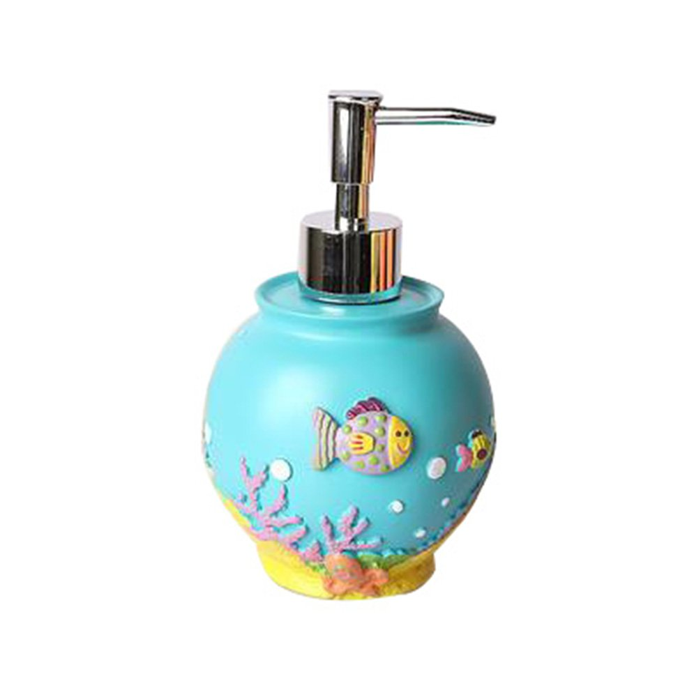 Leop Mediterranean Style Cute Decorative Cartoon Ocean Starfish One Piece Bathroom Accessory Set Soap Lotion Pump Dispenser Resin