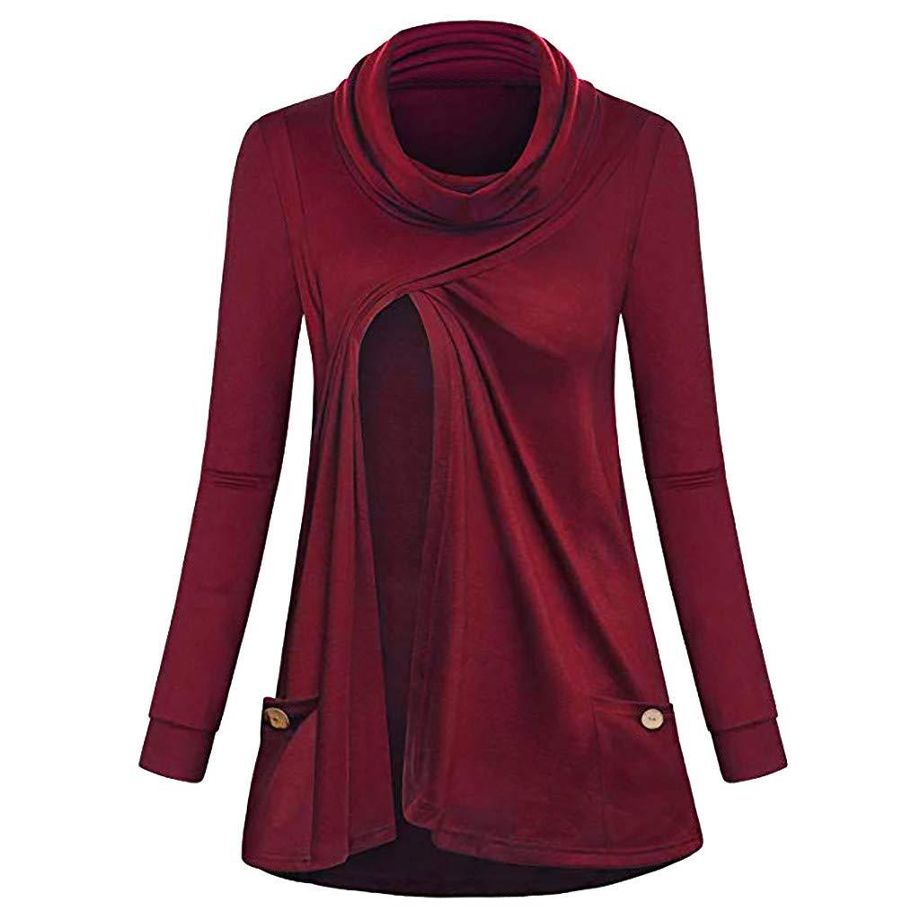 Banstore Women Nursing Button Long Sleeves Casual Breastfeeding Blouse Sweater Banstore Maternity