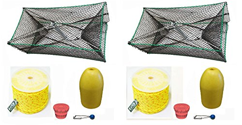 2-pack of KUFA Sports Galvanized Steel Foldable Prawn trap with 400' rope, Yellow float and Vented Bait Jar combo (S34+PAP3)x2K by KUFA