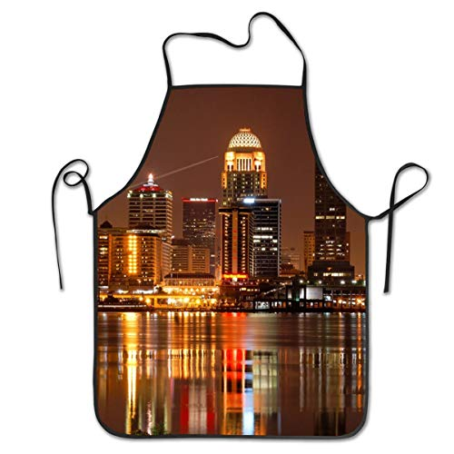 COLOMAKE Women Girls Polyester Retro Adjustable Louisville Aprons for Kitchen Cooking Baking