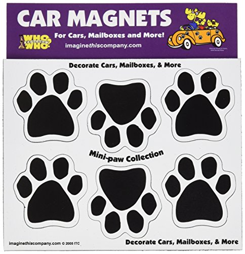 Imagine This 1-3/4-Inch by 1-3/4-Inch 6 Mini Paws Car Magnet, Black