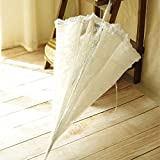 Auntwhale Transparent Dome Shape Princess Style Rain Umbrella Stick Umbrella for Wedding Party Lace Parasol for Bridesmaid Bridal White