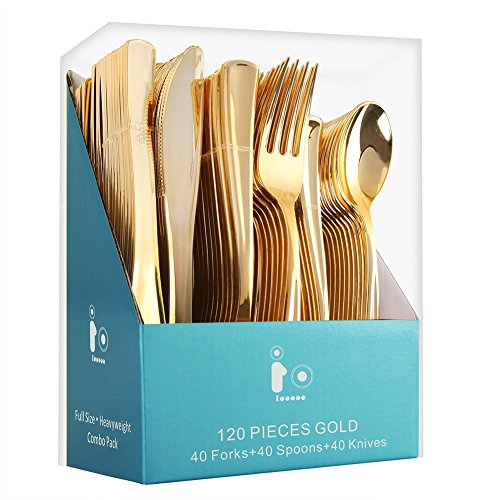 120 Piece Gold Plastic Silverware , Disposable Plastic Cutlery, Extra Heavy Duty Plastic Flatware Set Includes: 40 Forks, 40 Knives and 40 Spoons(IOOOOO)