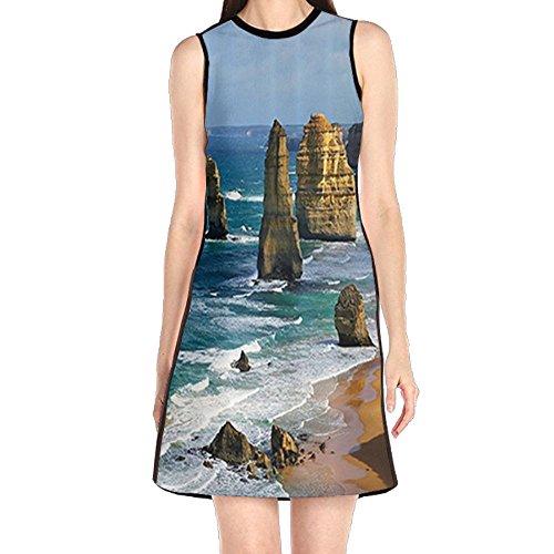 Landscape Panorama (MONILO Rock Surface Seascape Sightseeing Landscape Panorama Women's Fashion Sleeveless Mini Dress Print Party Dress Tank Dress)