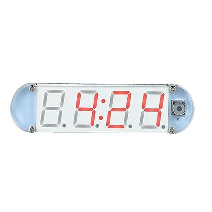 KKmoon Mini bricolaje LED de 4 dígitos del reloj Kit con caja transparente