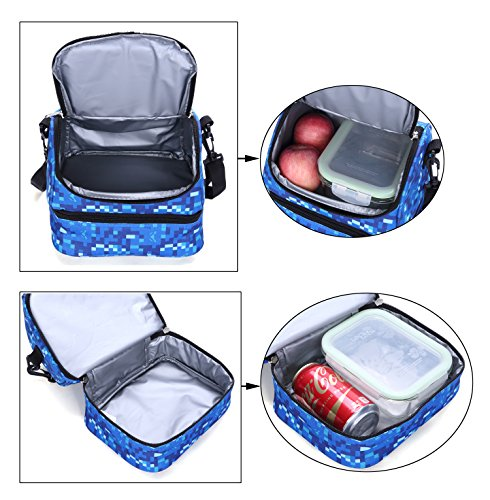 MIER Double Decker Insulated Lunch Box Soft Cooler Bag Thermal Lunch Tote with Shoulder Strap (Blue) by MIER (Image #5)