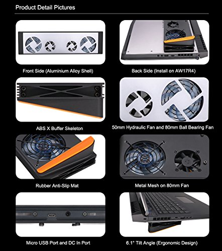 Smart Laptop Cooling Pad Chill Mat for Alienware 17 R4 AW17R4 with  Intelligent Speed Control System