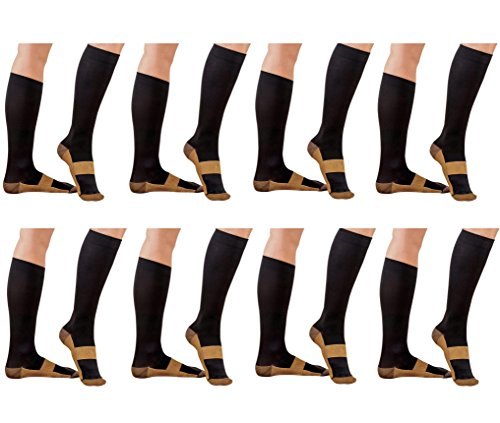 (Blk/Cu Lg/XL 8Pr) ASRocky Compression Copper Socks Graduated Anti-Fatigue Antimicrobial Calf High Below Knee Men Women Sock Leg Foot Ankle Heel Support Pain Relief Stockings Reduce Swelling ...