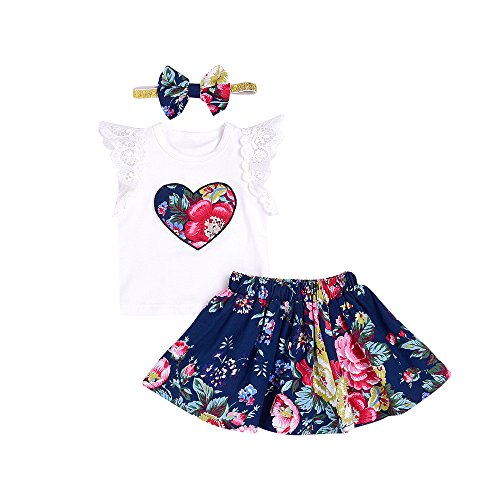 CCSDR Baby Girls Clothes Set,Infant Floral Print Lace Tops Short Sleeve T-Shirt+Skirt+Headbands Outfits (12-18 Months, White) - Beautiful Baby Lace Skirt