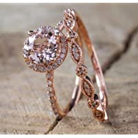 Promsup Antique 18K Rose Gold Morganite Gemstone Ring Set Wedding Women Jewelry Sz 6-10 (10)