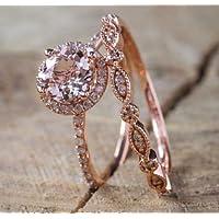 Phetmanee Shop Fashion Women Morganite 18K Rose Gold Filled Wedding Ring Set Size 6 7 8 9 10 (7)
