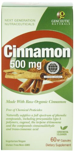 Genceutic Naturals Certified Dietary Supplement, Organic Cinnamon, 500 mg, 60 Count Review