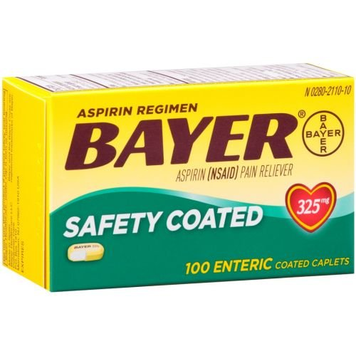 Bayer Safety Coated Aspirin 325mg Caplets - 100 per pack -- 24 packs per case. (Regimen Caplets)