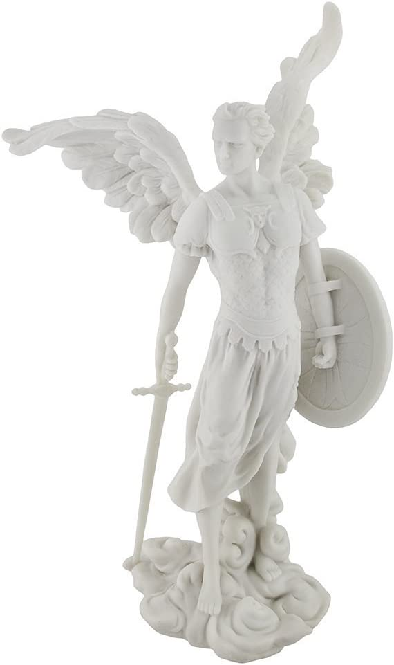 Marbled Archangel Saint Michael Warrior Statue
