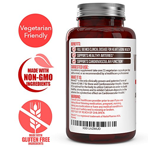 Extra Strength Vitamin K2 Supplement 180mcg - Vitamin k2 Supplement Supports Bone & Heart Health for Cardiovascular Calcium Absorption - 60 Easy to Swallow Vegan caps of Vitamin K2 MK7 (3 Pack) by Evolved Organics (Image #1)