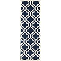 Safavieh Chatham Collection CHT727C Handmade Dark Blue and Ivory Premium Wool Runner (23 x 9)