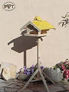 vogelhaus con soporte, grande, con nidos + btv de X de voni5de MS de gelb001nuevo macizo todo el año Premium Pajarera Nido + en un (Completo Multifunción resistente con aplicación de lavado). Completo con soporte. Resistente a la intemperie barnizado, calidad carpintero Ware 100% madera maciza–Comedero con forro Bahía de Silo Comedero Color Amarillo kräftig Sonnengelb Goldgelb, con techo bajo para Forro seco