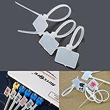 100pcs de nylon blanco postal atadura de cables de etiquetas de la correa de Gaza con la marca Tag 3X100mm