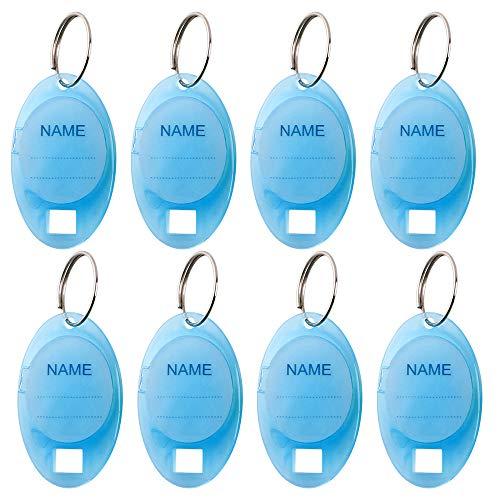 Five-of-Five 40 PCS Upgrade Key ID Label Tags ID Labels Key Identifier Clear Key Tags Dual Display Blue Oval Shaped