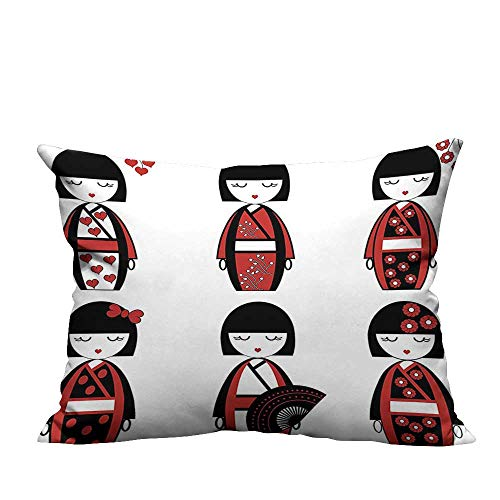 YouXianHome Home DecorCushion Covers Unique Japanese Geisha Dolls in Folkloric Costumes Outfits and Hair Sticks Kimo Comfortable and Breathable(Double-Sided Printing) 20x35.5 -