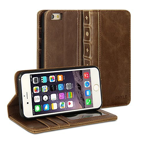 iPhone 6s Case, GMYLE Book Case Vintage for iPhone 6S - Brown PU Leather Stand Case Cover (Vintage Phone For Iphone compare prices)