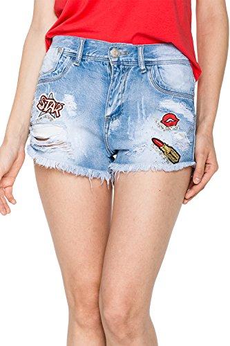 GLOSTORY Women's Sexy Cut Off Low Waist Vintage Tassels Ripped Jean Denim Shorts WNK-2196 (S, Blue) by GLOSTORY