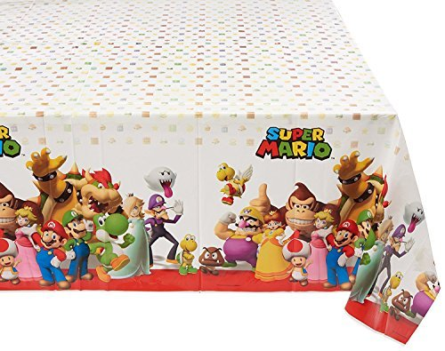 """Amscan Swank Super Mario Brothers Birthday Party Plastic Table Cover Tableware Decoration, Multi Color, 54'' x 96"""" (Three-Pack)"""