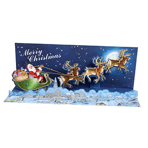 Card Panoramic (Up With Paper Pop-Up Panoramics Sound Greeting Card - Moonlight Sleigh Ride)