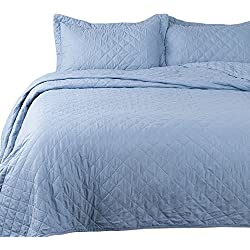 Bedsure 3-Piece Bedding Quilt Set Blue Full/Queen Size 90x96 Bedspread with 2 Pillow Shams Pattern Soft Microfiber Coverlet Set