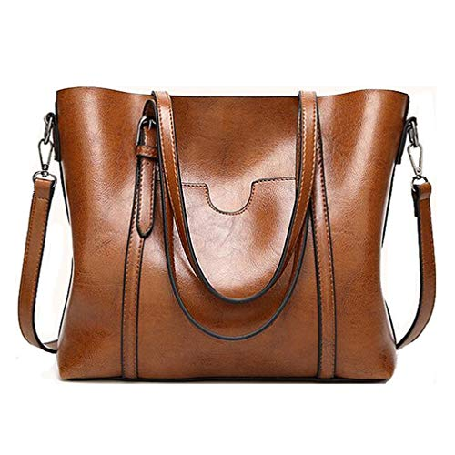Pahajim fashion Women PU Leather Bucket Bag business Purses Waterproof Handbags Tote Top Handle Satchel Shoulder with Zipper for Ladies(Brown)