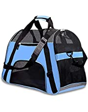 "M-Aimee Airline Approved Soft Sided Pet Travel Carriers, Low Profile Travel Tote with Cozy and Soft Dog Bed, Collapsible, Travel Friendly, Pet Travel Carrier Bag for Small Dogs, Cats, Puppies, Kittens, Small Pet (M(18.9""L x 11.8"" W x 9"" H), Blue)"