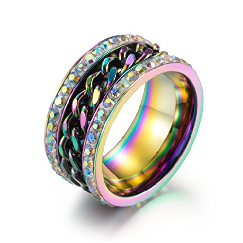 JINSHIYINYU Men's 11mm Stainless Steel Chain Spinner Ring Rainbow CZ Pave Wide Wedding Bands 3 -