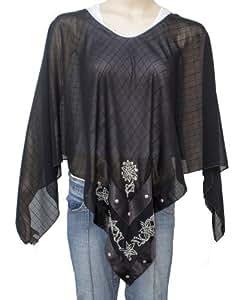 Starlite~Womens Black Poncho Kaftan Style Body Wrap-740306