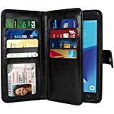 NEXTKIN Galaxy J7 2017 Sky Pro Case, Leather Dual Wallet Folio TPU Cover, 2 Large Pockets Double flap, Multi Card Slots Snap Button Strap For Samsung Galaxy J7 2017/J7V J727 Sky Pro Perx - Black