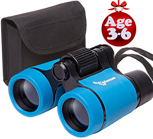 Toy Binoculars for Kids and Toddlers | Christmas or Birthday STEM Gift for Baby Boys Girls and Twins | Great for Party Pretend Play Outdoors and Travel Trips | Best for 3 to 6 yr | Small and Compact (Gifts Best Christmas Toddler)