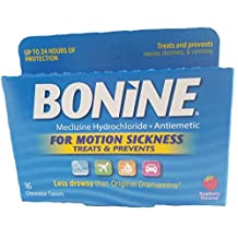 Bonine Meclizine Hydrochloride/Antiemetic, Tablets, Raspberry Flavored 16 ct (Pack of 6)