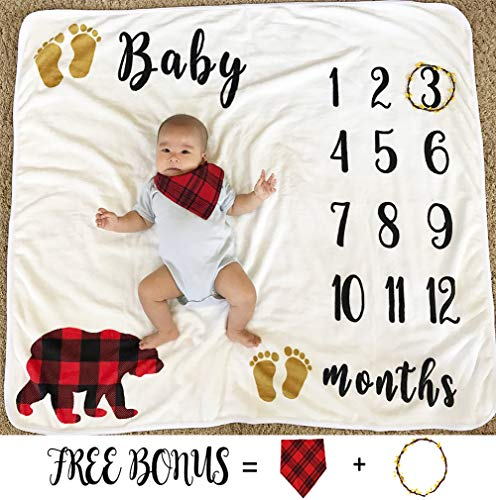 Baby Monthly Milestone Blanket for Boy Girl, Large