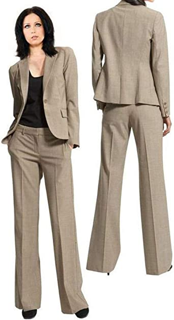 Womens Peak Lapel 2 Pieces Office Jacket and Pants Lady Blazer Business Suit Set