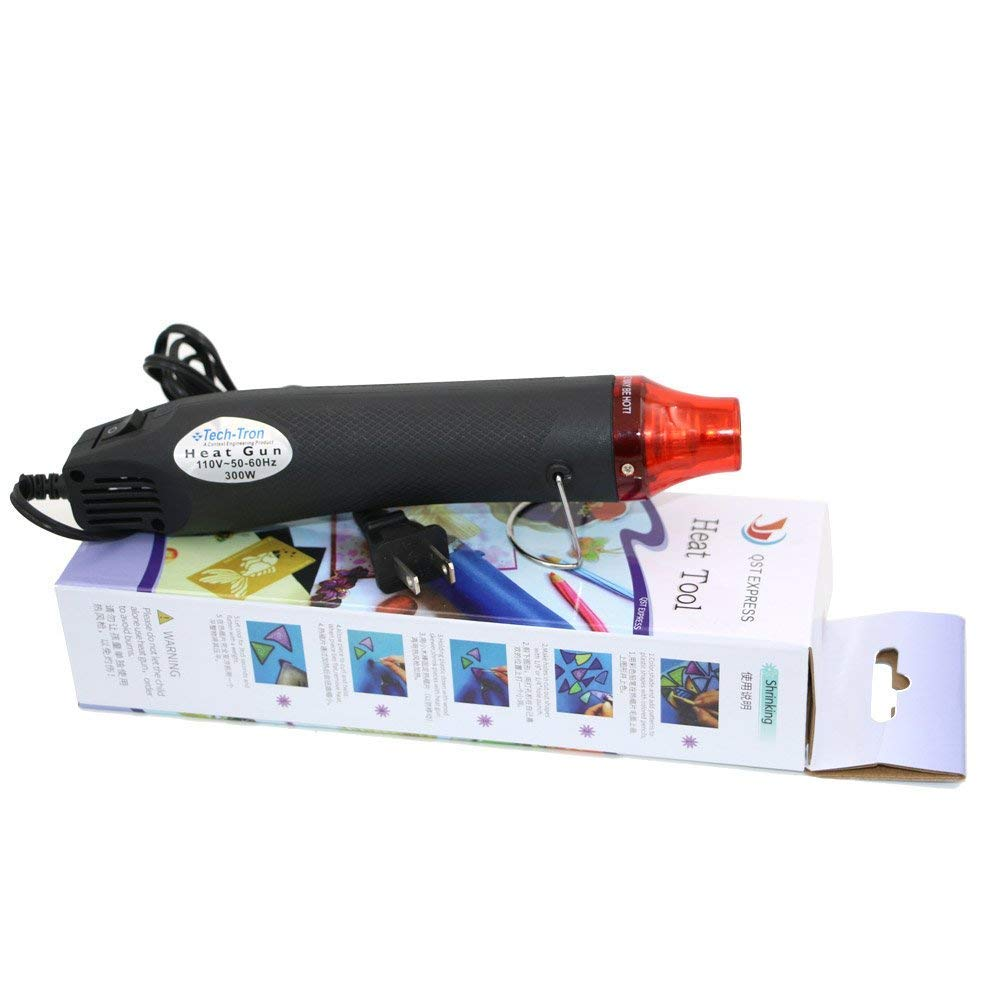 Mini Hot Air Gun, CAIDU Portable Mini Heat Gun for DIY Embossing Shrink Wrapping Drying Paint, 300W Multi Function Electrical Heat Tool (Black)