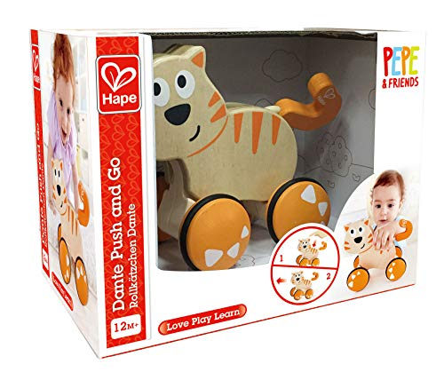 51Kt5UyBD%2BL - HapeDante Push and Go| Wooden Push, Release & Go Cat Toddler Toy with Wheels