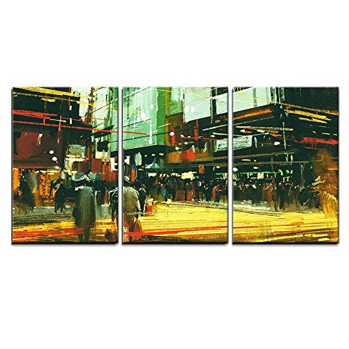 Cityscape Painting Crowds of People at a Busy Crossing Street x3 Panels