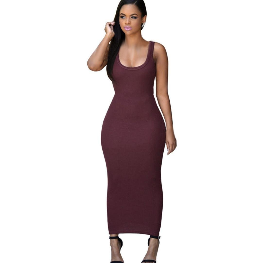 Usstore Women Dress Bandage Bodycon Party Cocktail Maxi Long Dresses (Asia S, Wine red)