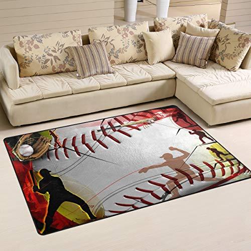 (DEYYA Custom Baseball Non-Slip Area Rugs Pad Cover 60 x 39 Inch, Black White Checkered Pattern Throw Rugs Carpet Modern Carpet for Home Dining Room Playroom Living Room Decoration)