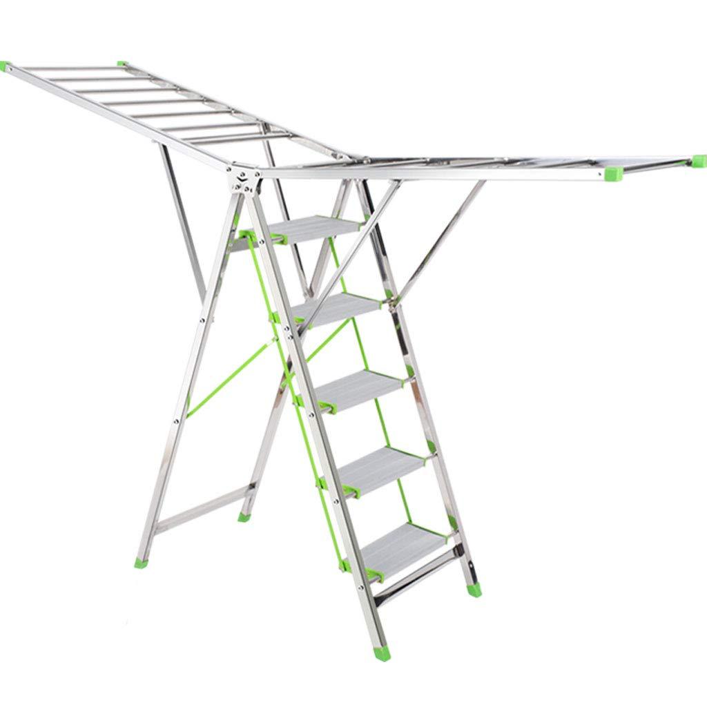 ZXW 乾燥ラック- 多目的二重目的ラダー乾燥ラック、ステンレススチール折りたたみ家庭乾燥ラック (色 : シルバー しるば゜, サイズ さいず : 105x193cm) B07KPK9188 シルバー しるば゜ 105x193cm