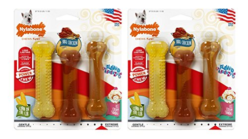 (2 Packages) Nylabone Flavor Frenzy BBQ Chicken, Corn and Ice Cream Dog Chew Toys ()