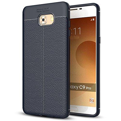 Samsung Galaxy C9 Pro Hülle, MSVII® Anti-Shock Weich TPU Silikon Hülle Schutzhülle Case Und Displayschutzfolie für Samsung Galaxy C9 Pro - Blau JY90023