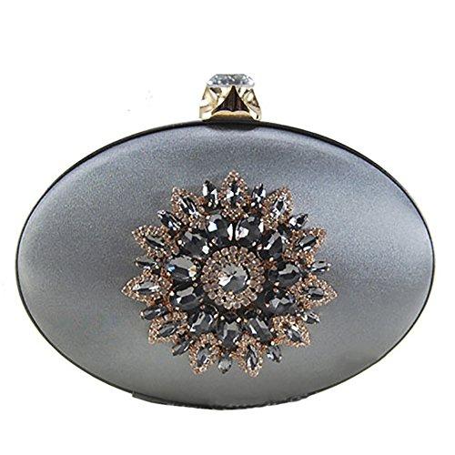 Silvery Handbag Luxury Elegant Clutch QZUnique Bag Women's Vintage Grey Purse Evening Rhinestone z4xxv7Xqw