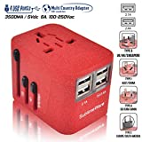Travel Adapter with 4 USB (SandRed) - All-in-One European Power Adapter -
