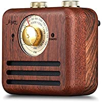 Retro Walnut Wood Bluetooth Speaker, Portable Mini Wireless Bluetooth Bass Subwoofer Support FM/AM Radio Loundspeaker