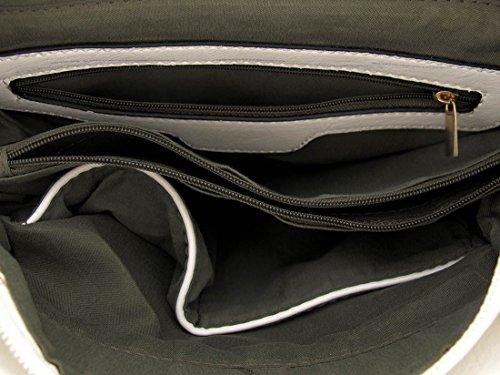 Studded Shoulder White w Rhinestone Expandable Detachable w Detachable Strap Studded Rhinestone Bag Expandable Bag Shoulder qrAqZ